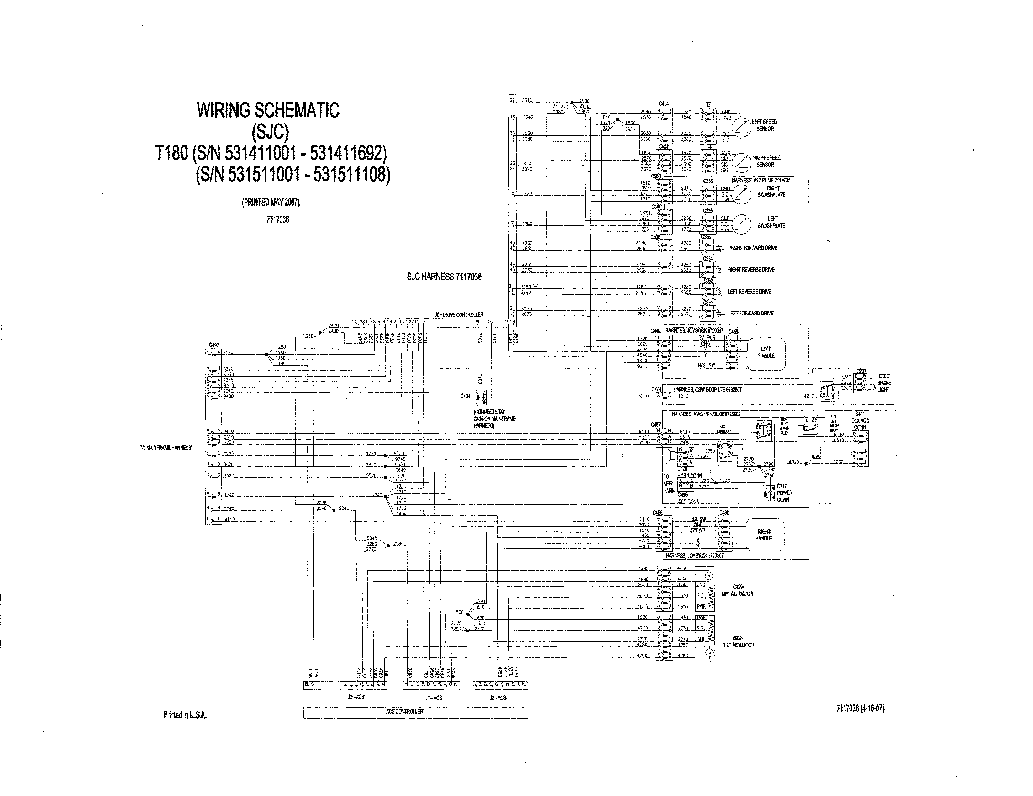 Bobcat T190 Electrical Schematics