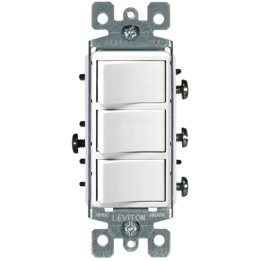 Stupendous Leviton Decora 15 Amp 3 Rocker Combination Switch White R62 01755 Wiring Cloud Eachirenstrafr09Org