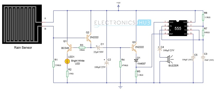 Peachy Rain Alarm Project Rain Water Detector Circuit Applications Wiring Cloud Uslyletkolfr09Org