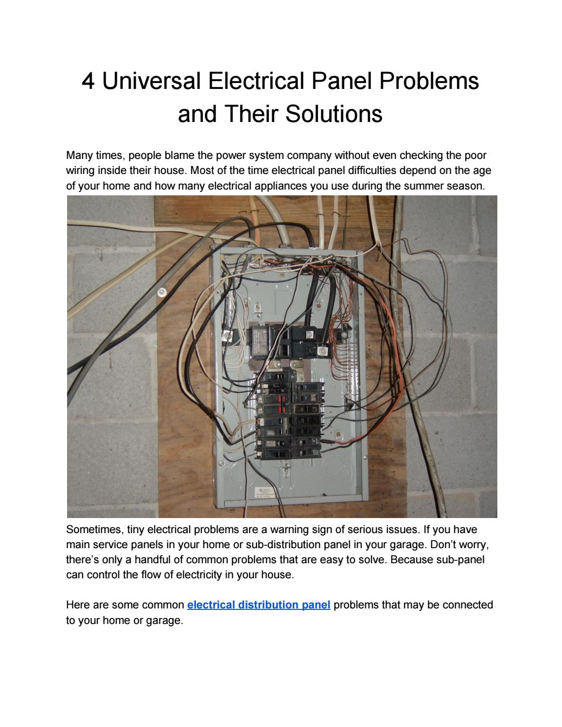 Superb 4 Universal Electrical Panel Problems And Their Solutions By Surplus Wiring Cloud Ittabisraaidewilluminateatxorg