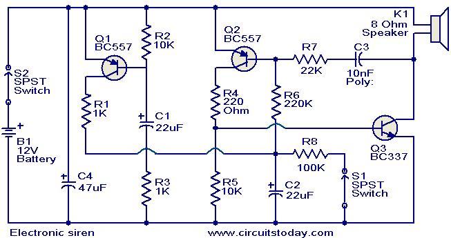 Superb Electronic Siren Circuit Electronic Circuits And Diagrams Wiring Cloud Staixaidewilluminateatxorg