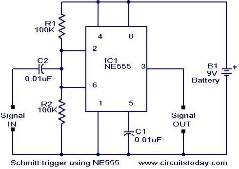 Astonishing Scmitt Trigger Circuit Using Ne 555 Electronic Circuits And Wiring Cloud Hemtshollocom