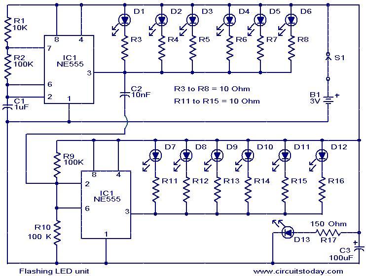 Tremendous Flashing Led Unit Electronic Circuits And Diagrams Electronic Wiring Cloud Orsalboapumohammedshrineorg