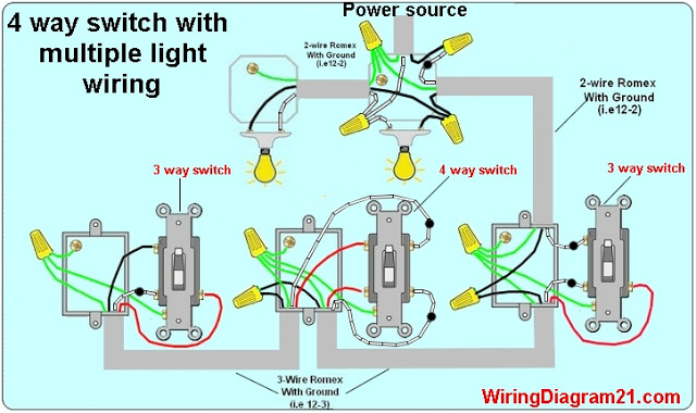 Hh 3669 Power Source At Switch 3 Feed From Switch 1 4 Way Switch Circuit Schematic Wiring
