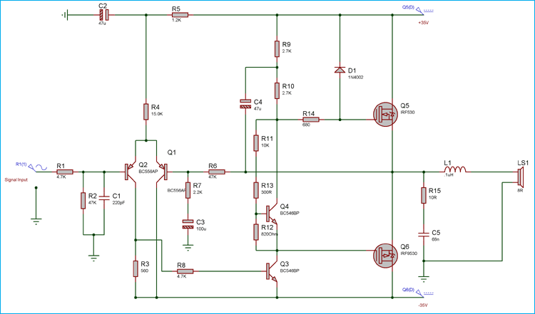 Excellent 50 Watt Power Amplifier Circuit Diagram Using Mosfets Wiring Cloud Hemtegremohammedshrineorg