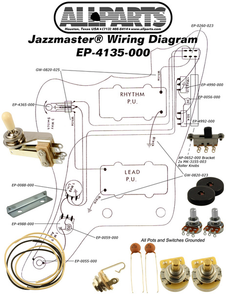 Awe Inspiring Allparts Electric Guitar Wiring Kit For Fender Jazzmaster Raru Wiring Cloud Waroletkolfr09Org