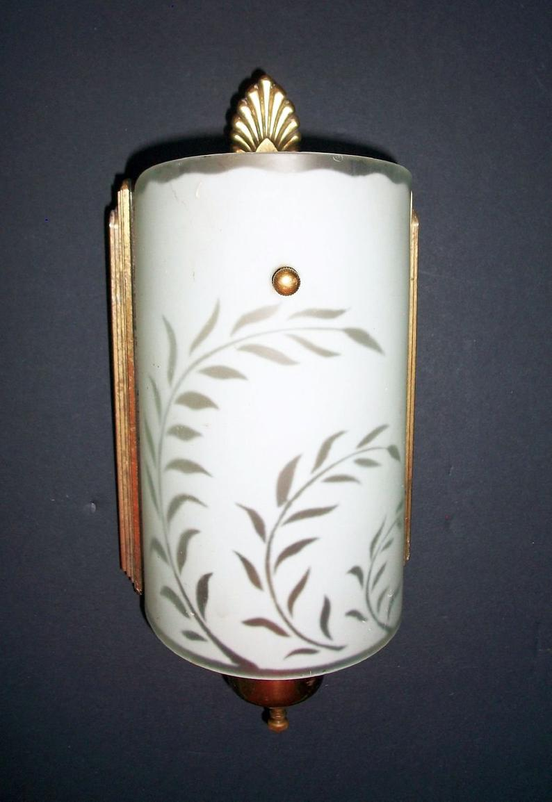 Remarkable Vintage Art Deco Wall Sconce Electric Wall Light Fixture Etsy Wiring Cloud Waroletkolfr09Org