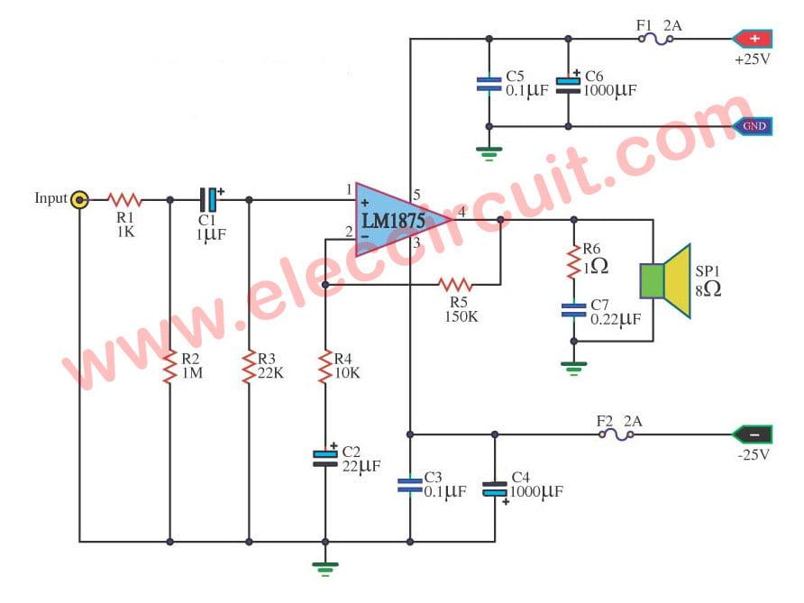 Remarkable Lm1875 Datasheet 25W Hifi Audio Amplifier Circuit Eleccircuit Com Wiring Cloud Xempagosophoxytasticioscodnessplanboapumohammedshrineorg