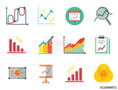 Surprising Graph Icon Set Magnifier And Graph Growing Bar Chart Declining Bar Wiring Cloud Itislusmarecoveryedborg