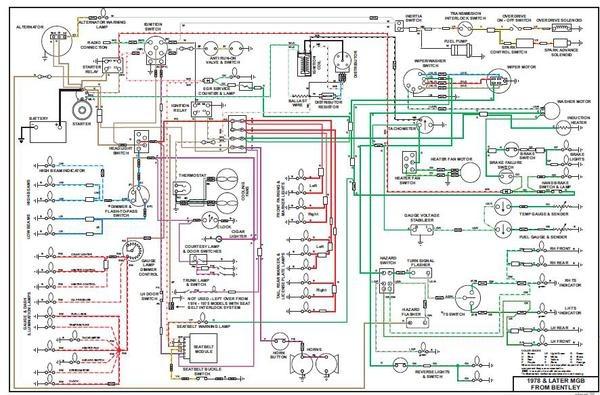1971 1972 1973 1974 MGB & MGB GT Full Color Laminated Wiring Diagram 11