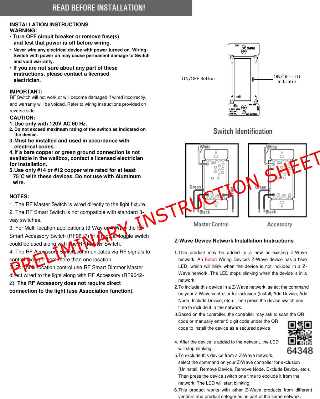 Surprising Rf9601 Z Wave Plus Wireless Switch User Manual Users Manual Cooper Wiring Cloud Gufailluminateatxorg