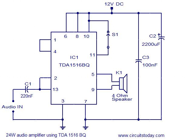 Fabulous 24W Amplifier Using Tda1516 Electronic Circuits And Diagram Online Wiring Cloud Intelaidewilluminateatxorg