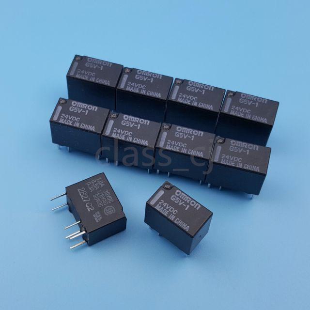 Electronics 5pcs 24V DC High Capacity Low Profile DPDT 2 Amp Power PCB Relay.