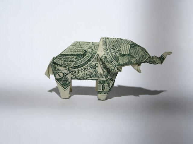 Amazon.com: Dollar Bill Origami Elephant Shirt Art-Lucky Animal ... | 480x640