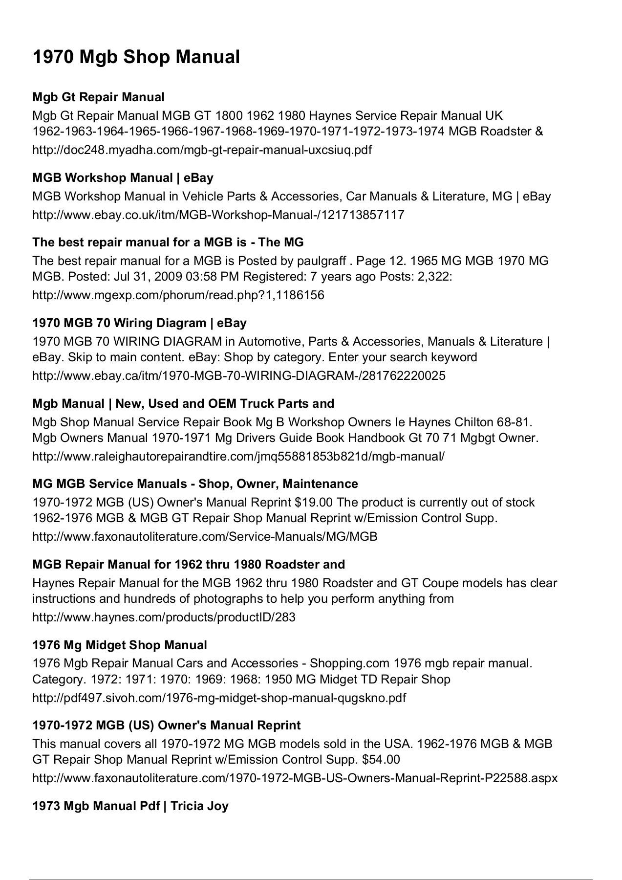 Wondrous 1970 Mgb Shop Manual Wiring Cloud Rometaidewilluminateatxorg