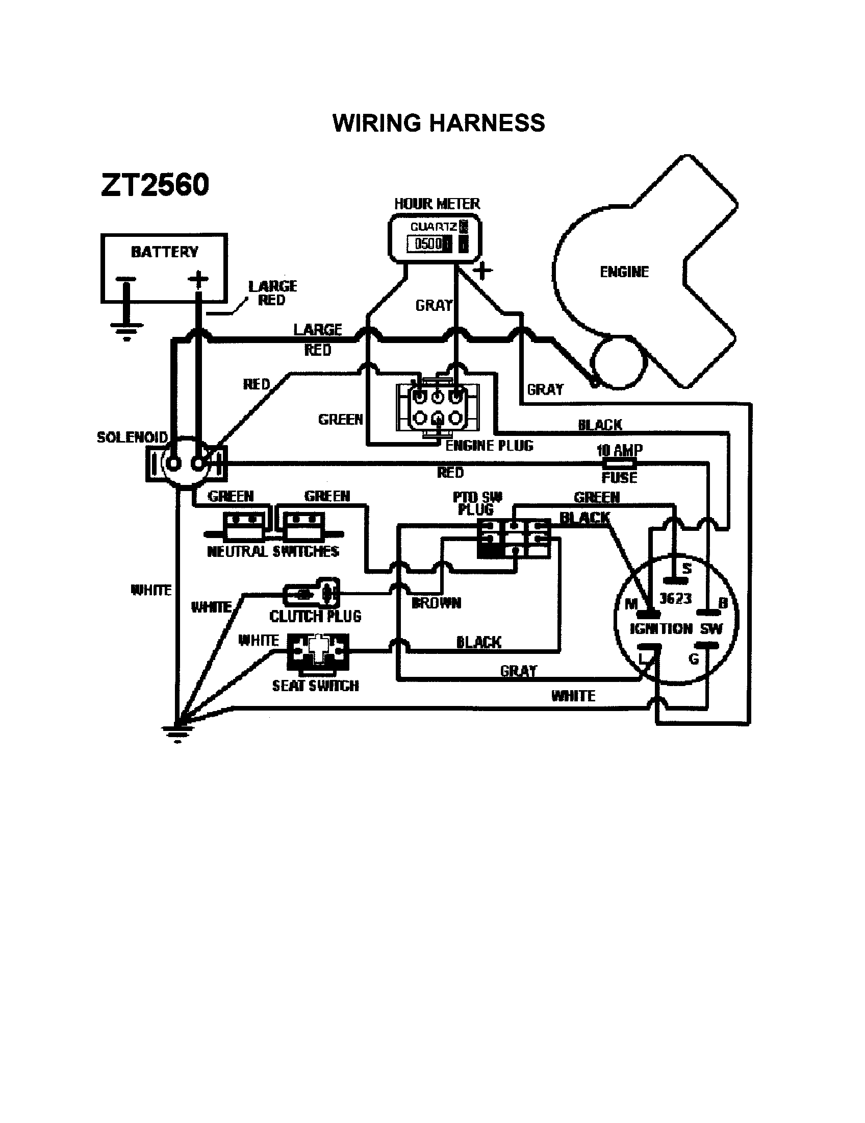 scotts s2048 wiring diagram dx 7036  lawn tractor wiring harness  dx 7036  lawn tractor wiring harness