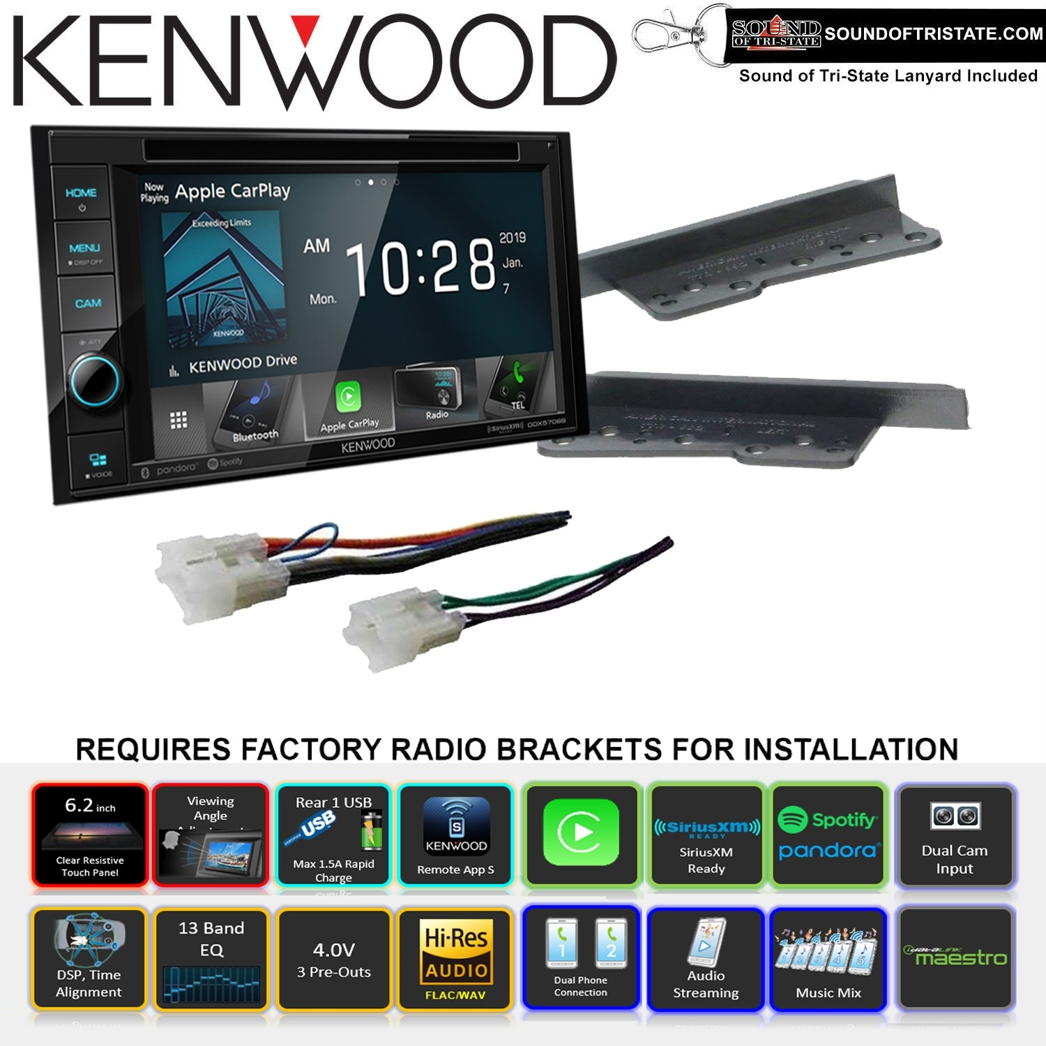 Swell Kenwood Ddx5706S 6 2 Dvd Receiver With Installation Kit Wire Wiring Cloud Ostrrenstrafr09Org