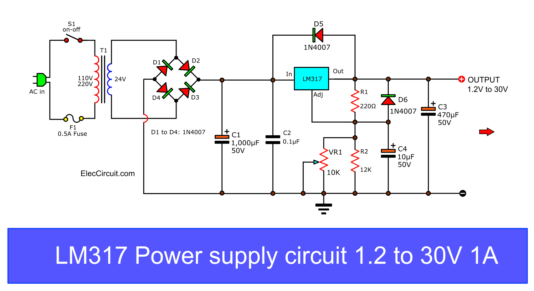 Pleasing My First Variable Power Supply Using Lm317 Eleccircuit Wiring Cloud Onicaxeromohammedshrineorg