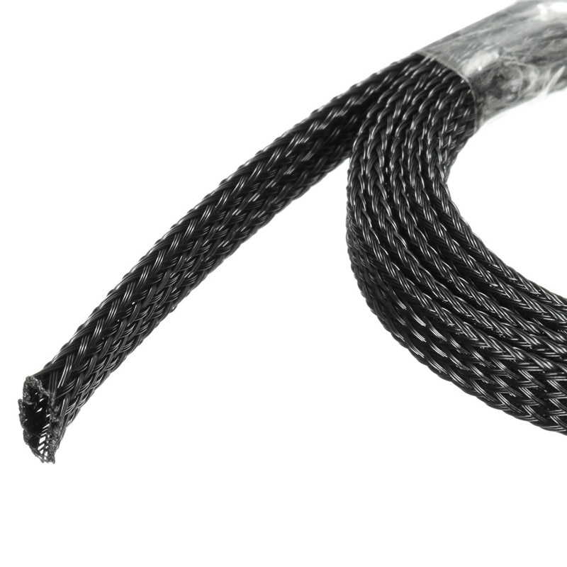 Black Braided Cable Sleeving Expandable Flexible Sleeve 5mm 50mm  1m to 100m