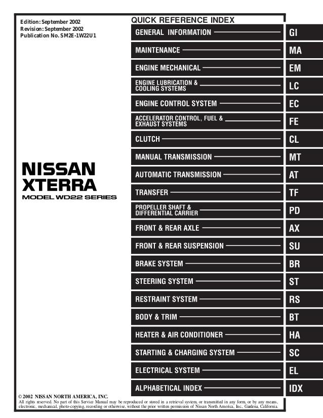 Pleasing 2002 Nissan Xterra Service Repair Manual Wiring Cloud Rineaidewilluminateatxorg