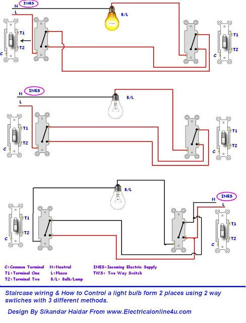 Incredible 3 Different Method Of Staircase Wiring With Diagram And Complete Wiring Cloud Ostrrenstrafr09Org