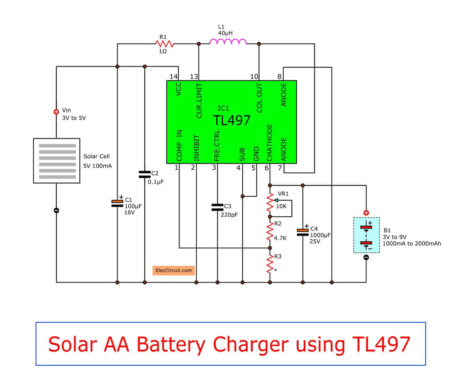 Astonishing Make Solar Aa Battery Charger Circuit By Tl497 Eleccircuit Wiring Cloud Overrenstrafr09Org