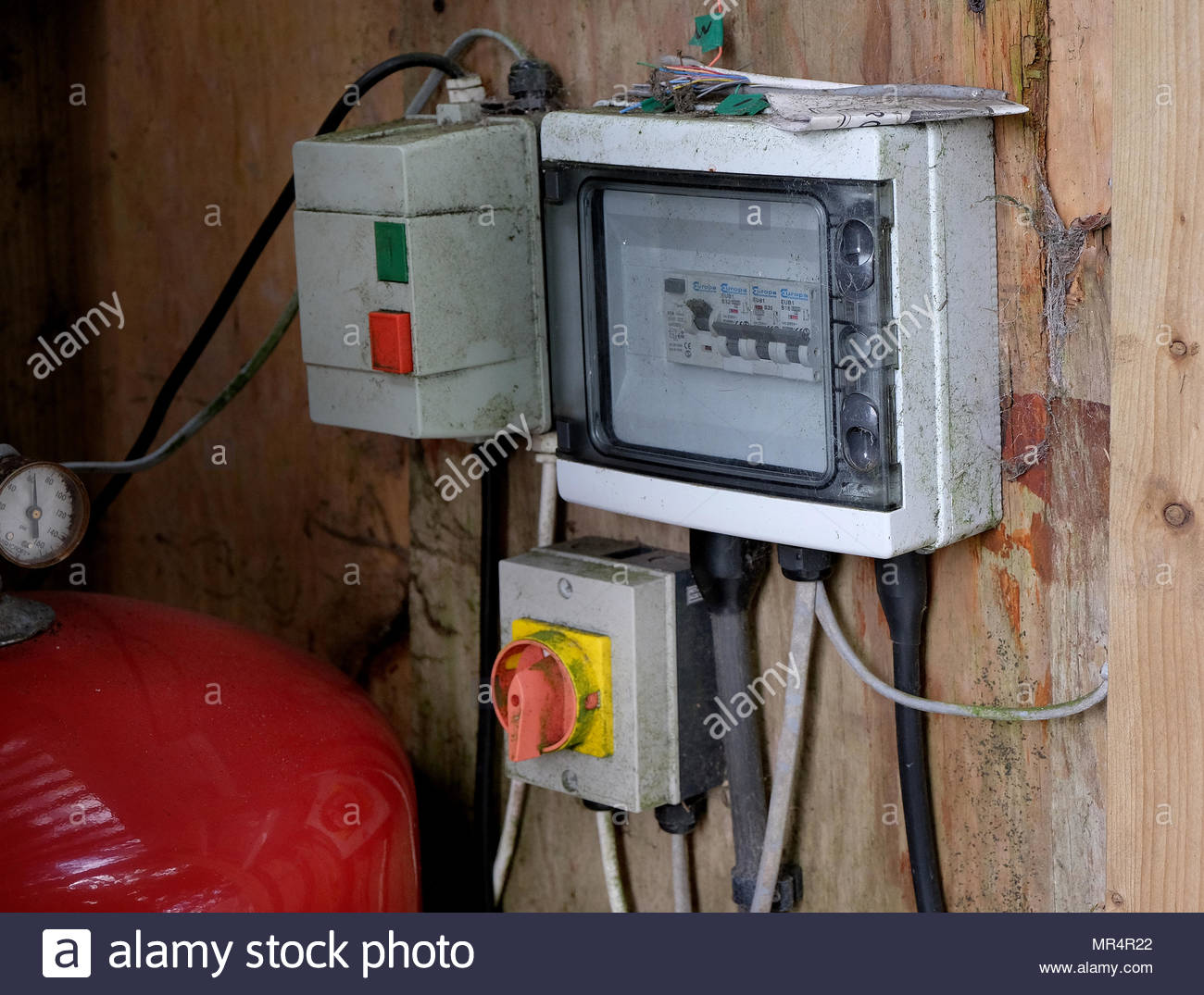 Fantastic Electric Equipment In Open Wooden Shed Outdoors Stock Photo Wiring Cloud Cranvenetmohammedshrineorg