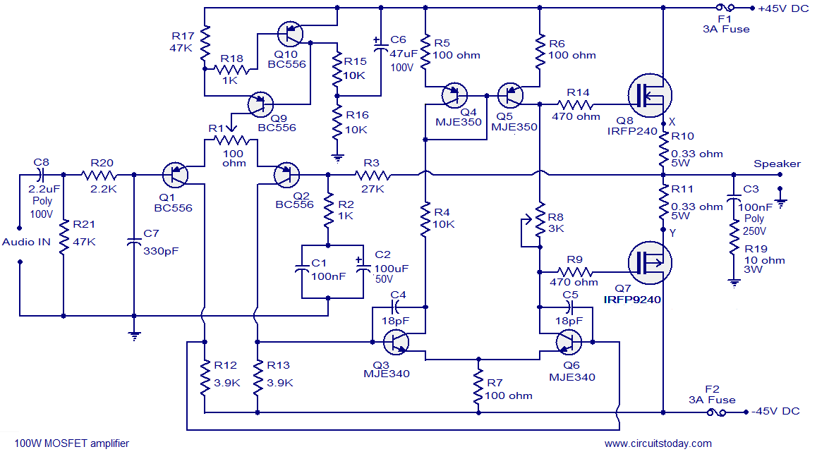 Cool 100W Mosfet Power Amplifier Circuit Using Irfp240 Irfp9240 Wiring Cloud Overrenstrafr09Org