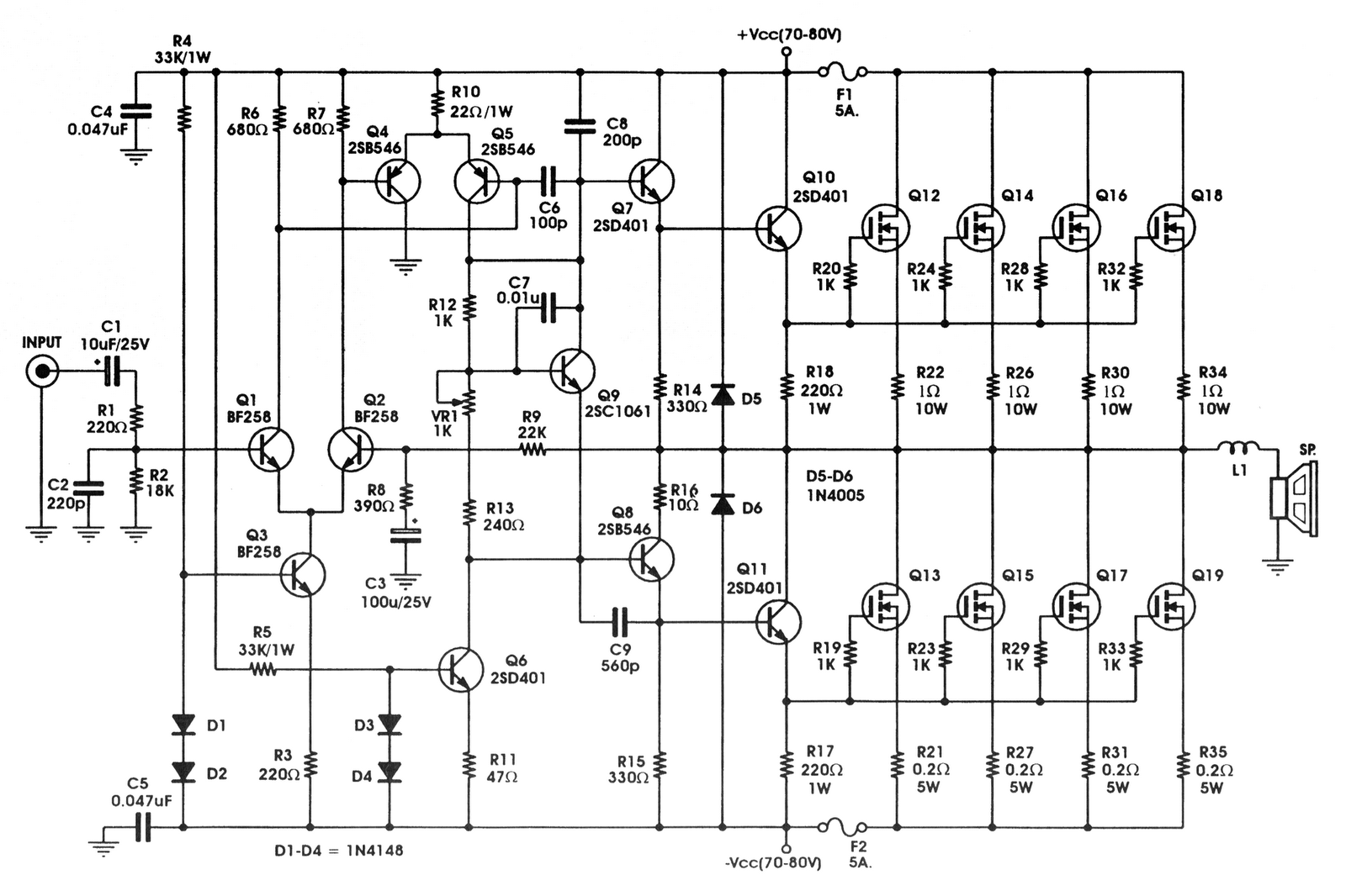 2500w Power Mosfet Amplifier Circuit - Vga Splitter Wiring Diagram -  5pin.honda-accordd.waystar.fr