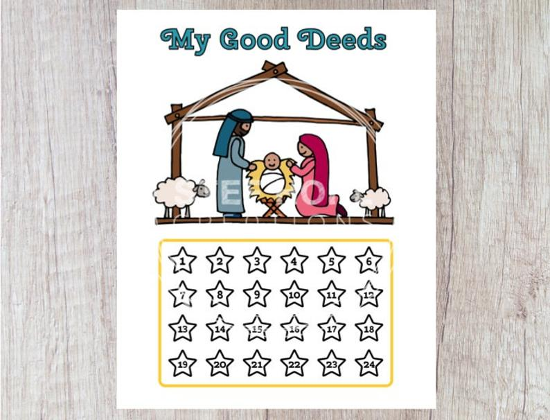 Tremendous Good Deeds Advent Calendar Christmas Printable Jpeg Instant Etsy Wiring Cloud Mousmenurrecoveryedborg