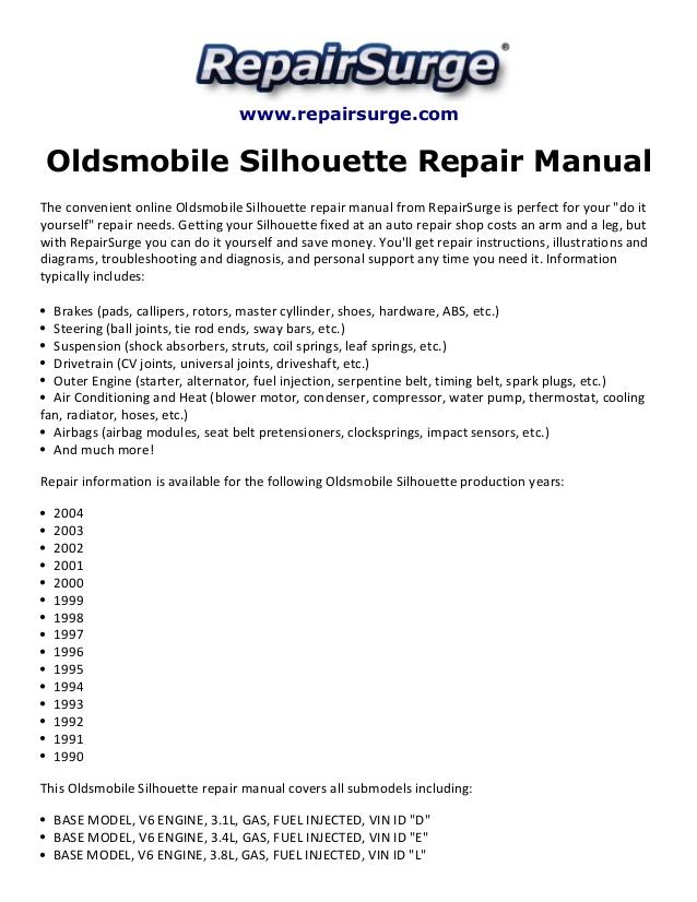 Enjoyable Oldsmobile Silhouette Repair Manual 1990 2004 Wiring Cloud Rineaidewilluminateatxorg