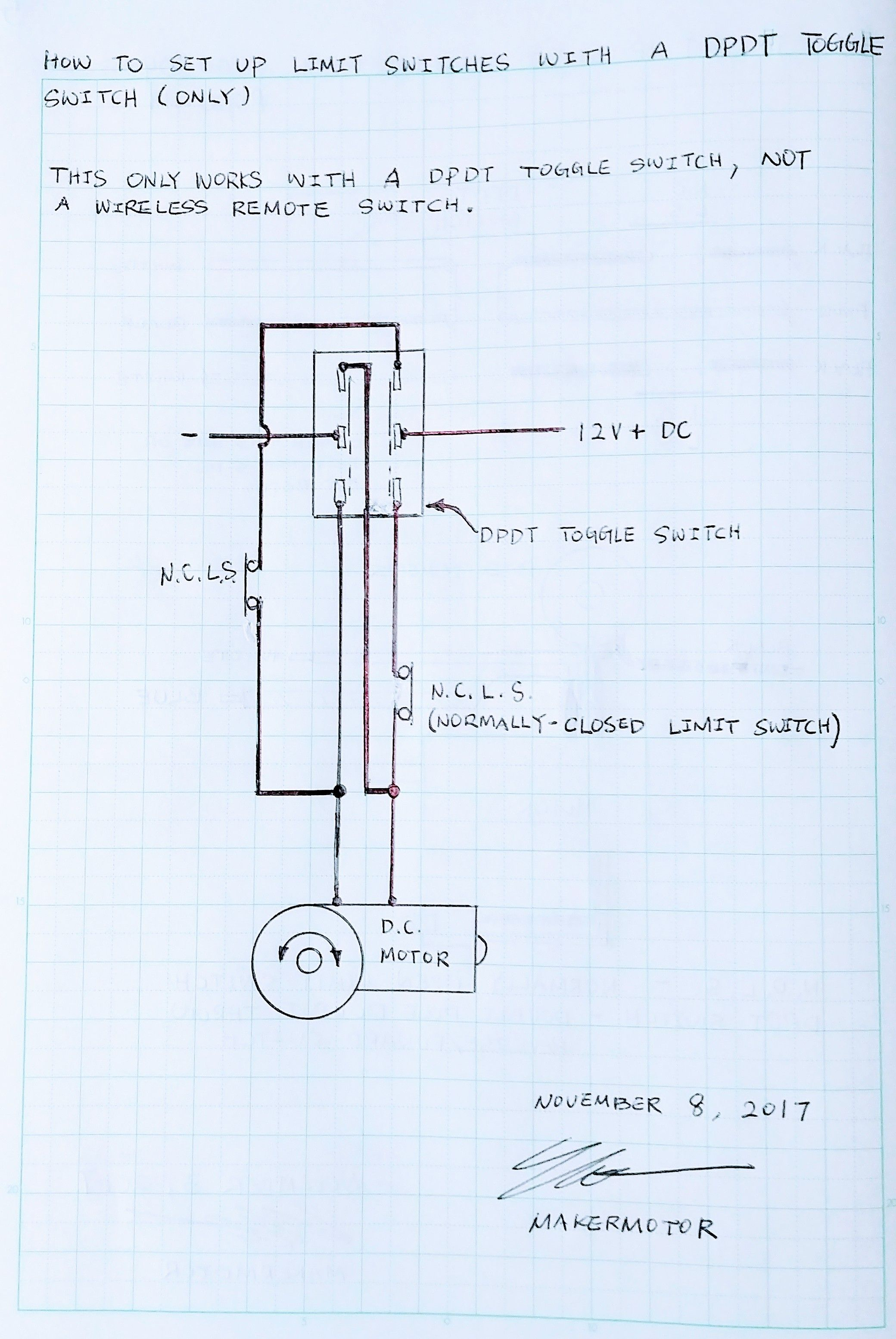 Awe Inspiring How To Set Up Limit Switches With A Wired Dpdt Switch For Reverse Wiring Cloud Eachirenstrafr09Org