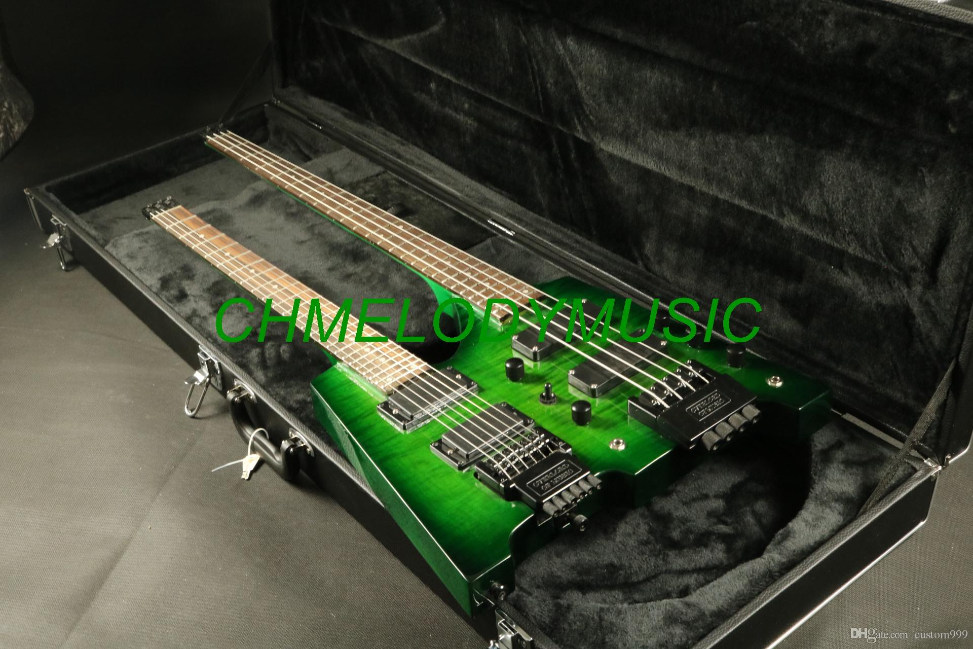Sensational Chmelodymusic Lzeal Green Color Double Neck Headless Electric Guitar Wiring Cloud Intelaidewilluminateatxorg