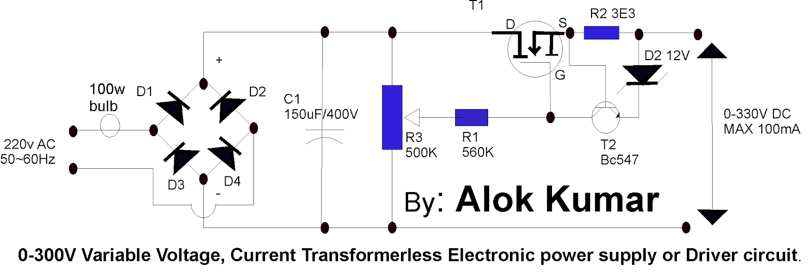 Terrific Electronic Circuits Transformerless Power Supply Led Drivers Wiring Cloud Overrenstrafr09Org