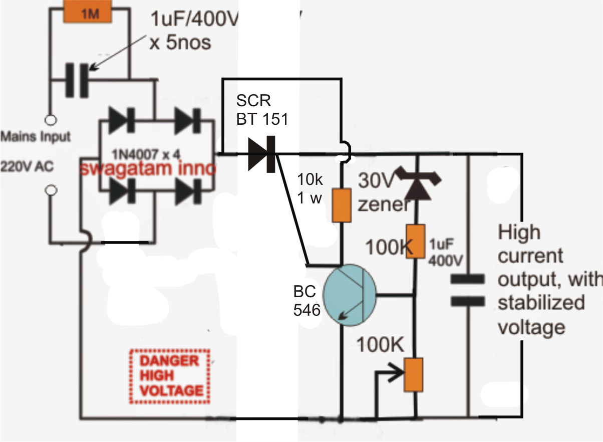 Superb The Post Explains An Innovative Transformerless Power Supply Circuit Wiring Cloud Gufailluminateatxorg