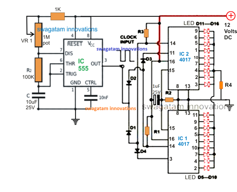 Remarkable 18 Led Chaser Circuit Two Ic 4017 Cascaded With Each Other Wiring Cloud Eachirenstrafr09Org