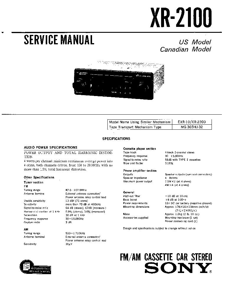 Le 2186 Sony Xr 2100 Car Stereo Wiring Diagram