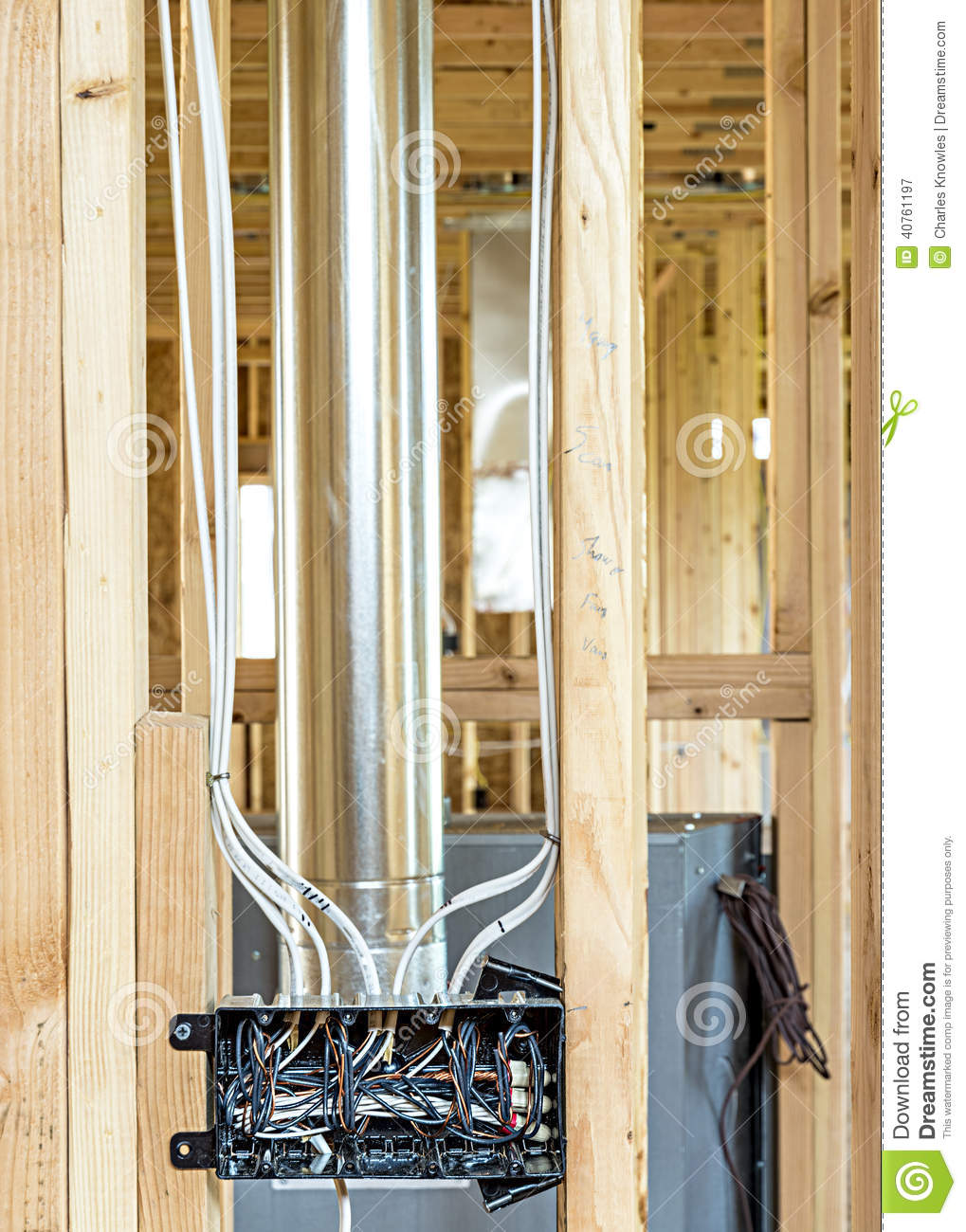 Fantastic New Home Construction Wiring Box Stock Image Image Of Construction Wiring Cloud Rometaidewilluminateatxorg