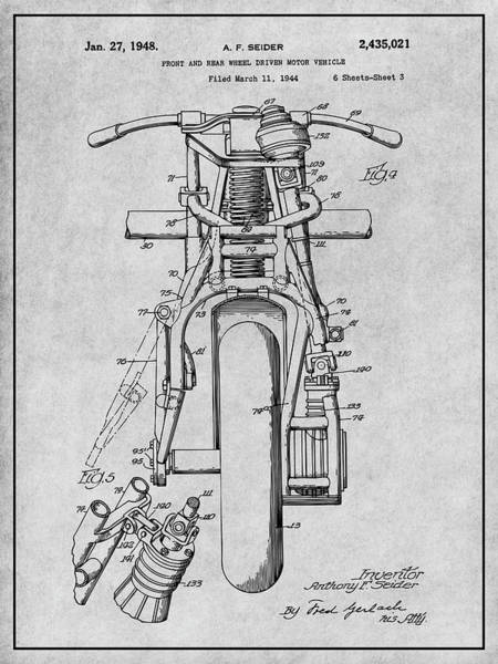1926 Generator for Indian Motorcycle Engines Patent Print Art Drawing Poster