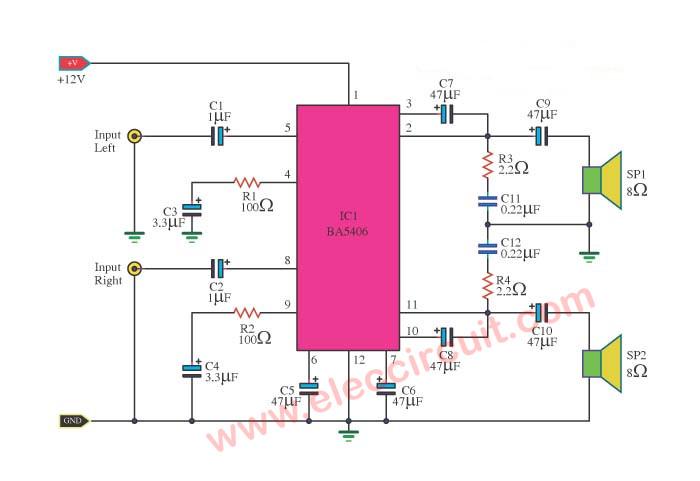 Astounding Ba5406 Amplifier Stereo 3W Wiring Cloud Onicaxeromohammedshrineorg