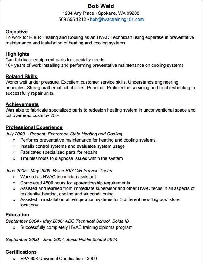 Pleasing How To Create A Standout Hvac Resume With Example Resume Wiring Cloud Icalpermsplehendilmohammedshrineorg