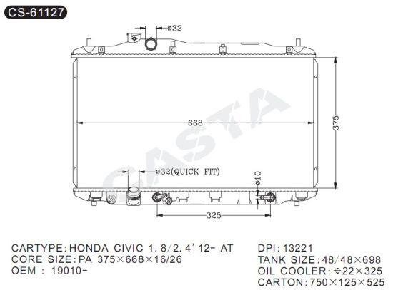 Brilliant China Engine Spare Parts Auto Radiator For Honda Civic 1 8 2 412 At Wiring Cloud Icalpermsplehendilmohammedshrineorg