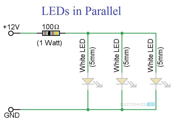 Tremendous Simple Led Circuits Single Led Series Leds And Parallel Leds Wiring Cloud Histehirlexornumapkesianilluminateatxorg