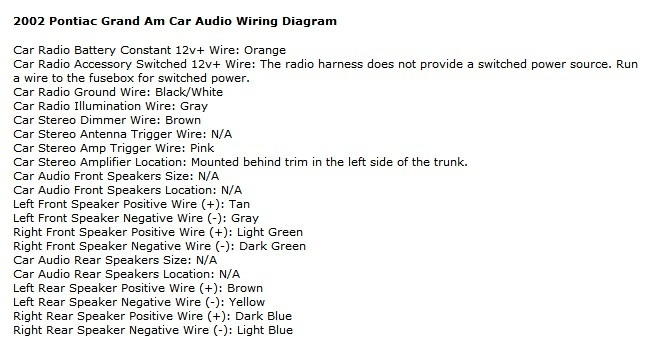 2004 Pontiac Grand Am Monsoon Stereo Wiring Diagram