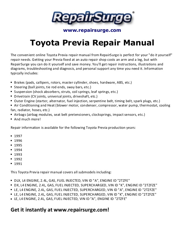 Ed 3866 1992 Toyota Previa Engine Diagram Download Diagram