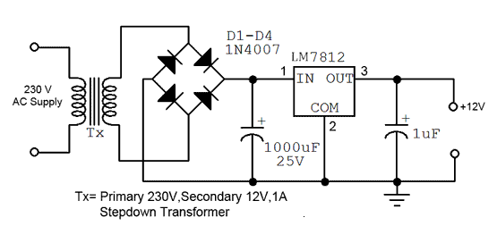Phenomenal Simple 12V Fixed Voltage Power Supply Circuit Diagram Diagram Circuit Wiring Cloud Eachirenstrafr09Org