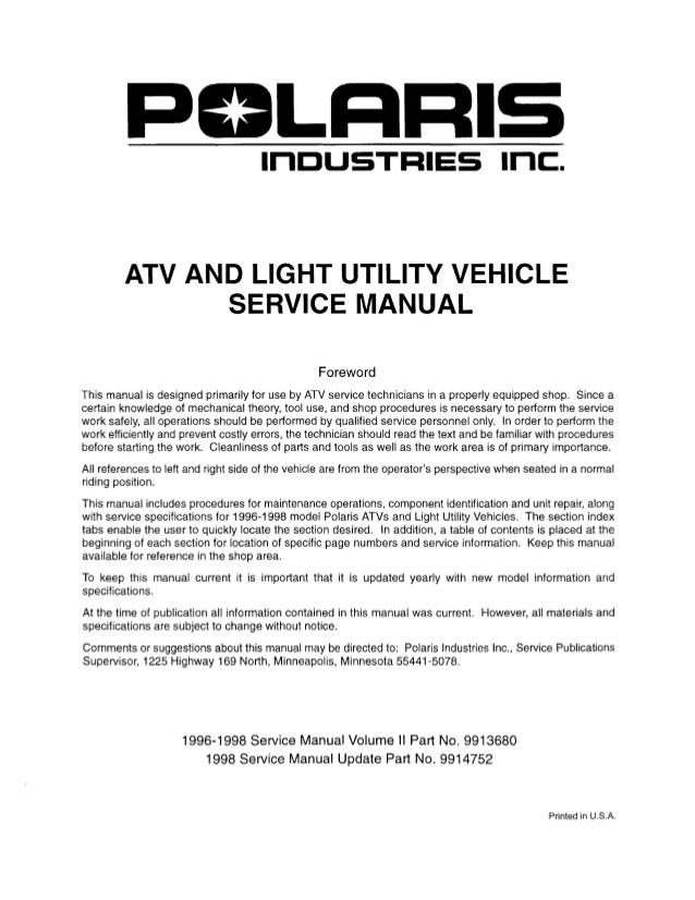 1995 Polaris Scrambler 400 4x4 Wiring Diagram