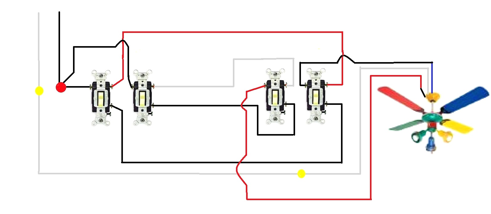 Yt 6711 Double Wall With Ceiling Fan Switch Light Wiring Diagram