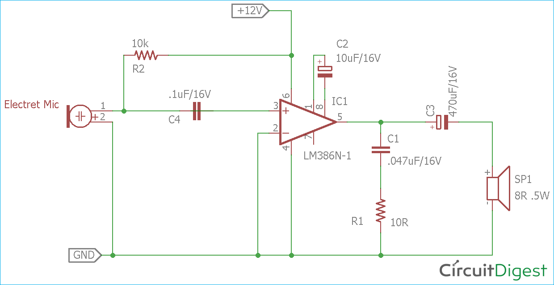 Swell Simple Microphone To Speaker Amplifier Circuit Diagram Wiring Cloud Onicaalyptbenolwigegmohammedshrineorg