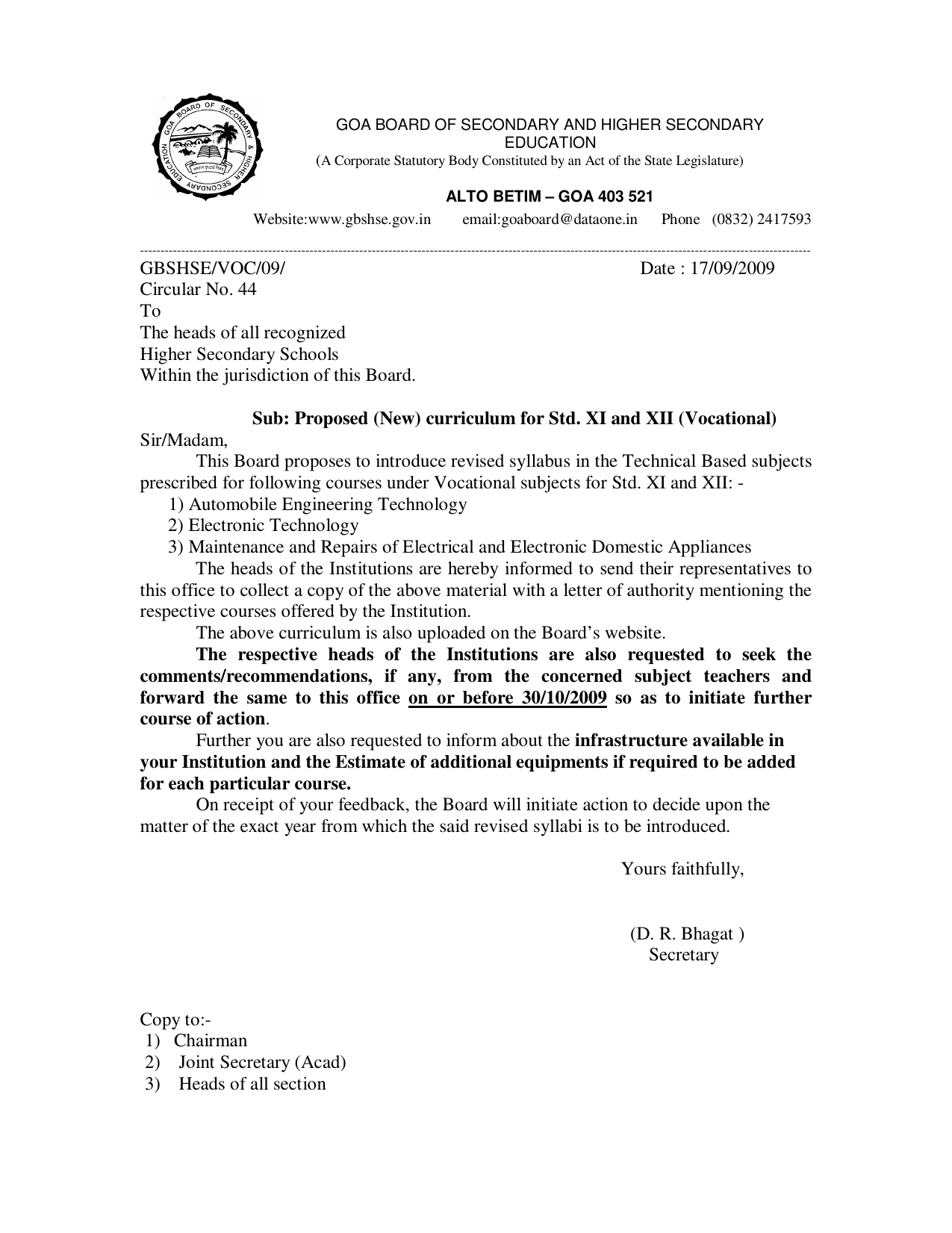 Astounding Circular No 44 Proposed New Curriculum For Std Xi And Xii Wiring Cloud Overrenstrafr09Org
